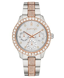 Women's Classic Two-Tone Silver and Rose Gold Tone Crystal Bezel Stainless Steel Strap Analog Watch 40mm