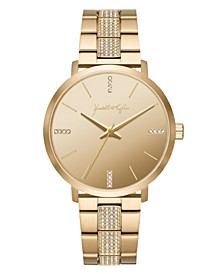 Women's Gold Tone Crystal Stainless Steel Strap Analog Watch 40mm