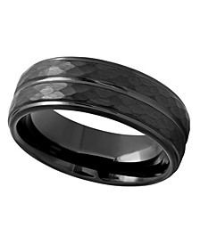 Men's Faceted Tantalum Wedding Band