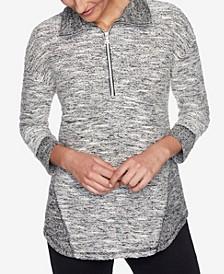 Plus Sizes Women's Textured Half Zip Pullover