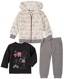 Little Boys Fleece Zip Front Hoody with Top and Fleece Pant Set, 3 Piece