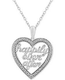 "Diamond Happily Ever After Heart Necklace (1/5 ct. t.w.) in Sterling Silver, 17"" + 2"" extender"