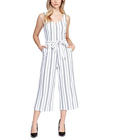 Striped Stretch Belted Cropped Jumpsuit