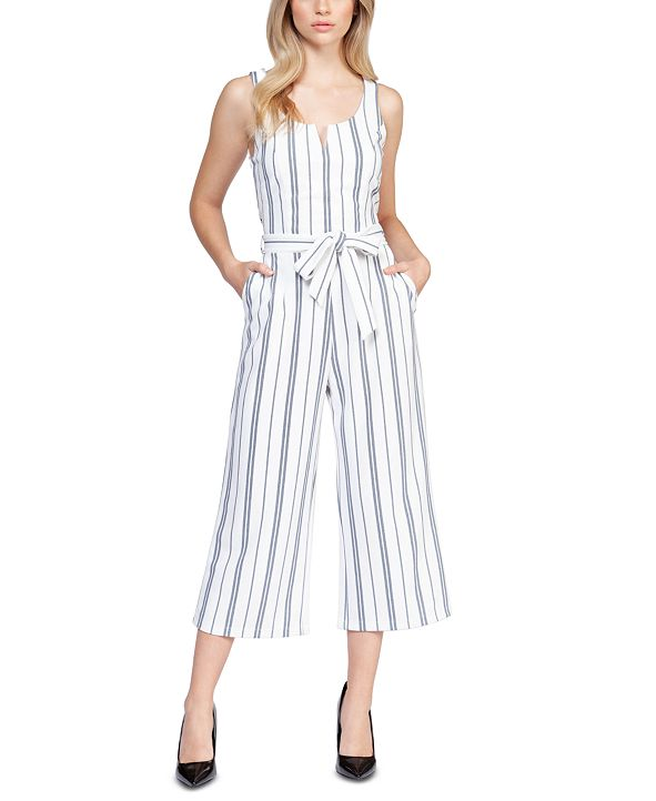 Black Tape Striped Stretch Belted Cropped Jumpsuit