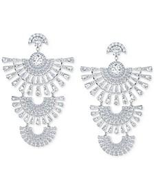 Silver-Tone Crystal Triple Drop Earrings