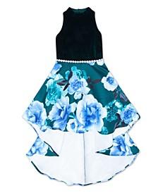 Big Girls Velvet Bodice Floral Dress