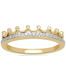 Enchanted Disney Fine Jewelry Diamond Tiara Ring (1/10 ct. t.w.) in 10k White , Yellow or Rose Gold
