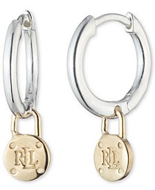 Padlock Logo Dangle Hoop Earrings in Sterling Silver & 18k Gold-Plate