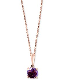 "EFFY® Amethyst Solitaire 18"" Pendant Necklace (3/4 ct. t.w.) in 14k Rose Gold"