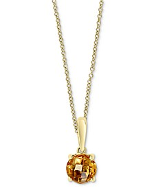 """EFFY® Citrine Solitaire 18"""" Pendant Necklace (3/4 ct. t.w.) in 14k Gold"""