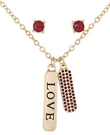 Gold-Tone Colored Crystal Love Pendant Necklace & Stud Earrings Set
