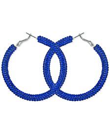 """Medium Multicolor Crystal Hoop Earrings, 2"""""""