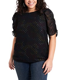 Women's Plus Size Ruched Sleeve Tee