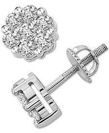 Diamond Cluster Stud Earrings (1 ct. t.w.) in Sterling Silver