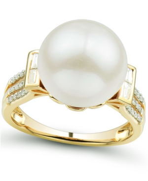 Cultured Ming Pearl (12mm) & Diamond (1/5 ct. tw.) Ring in 14k Gold