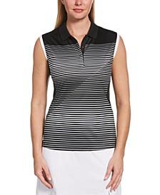 Striped Sleeveless Golf Polo
