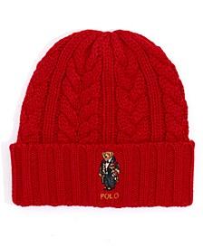 Men's Cable-Knit Bear Logo Beanie Hat