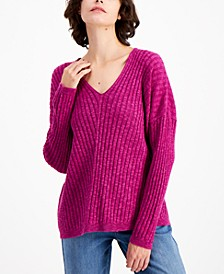 Organic Ribbed V-Neck Sweater