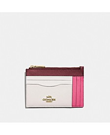Colorblock Large Flat Leather Card Case
