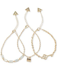 Gold-Tone 3-Pc. Set Crystal & Padlock Chain Bracelets