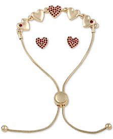 Gold-Tone Crystal Heart Slider Bracelet & Stud Earrings Set