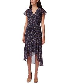Ditsy-Print Ruched Midi Dress