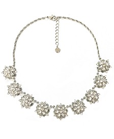 "Silver-Tone Crystal Snowflake Statement Necklace, 17"" + 2"" extender, Created for Macy's"