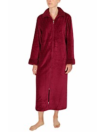 Plus Size Sculptured Fleece Long Zipper Robe