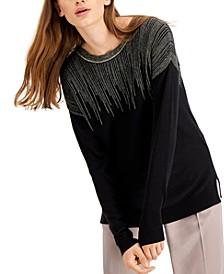 Petite Metallic-Lines Sweater, Created for Macy's