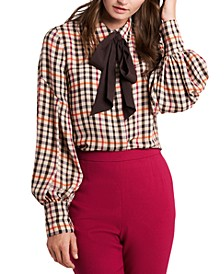 Camille Bow Front Plaid Blouse, Created for Macy's