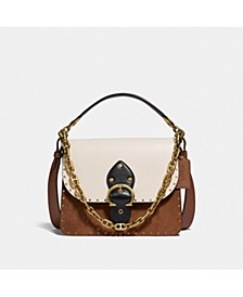 Colorblock Mixed Leather Beat Shoulder Bag With Rivets