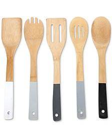 Greyscale Bamboo 5-Pc. Kitchen Utensil Set