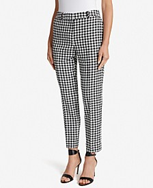 Houndstooth-Print Ankle Pants