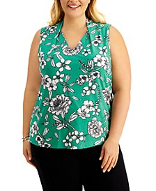Plus Size Printed Sleeveless Top