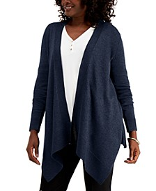 Textured Hem Cascade-Front Cardigan, Created for Macy's