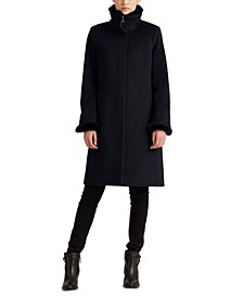 Faux Fur–Trimmed Wool-Blend Coat