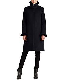 Faux Fur–Trimmed Wool-Blend Coat