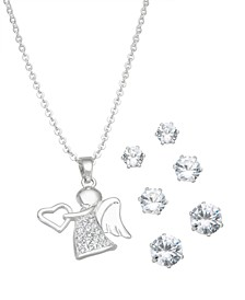 Fine Silver Plated Cubic Zirconia Angel Pendant and Three Piece Earring Set
