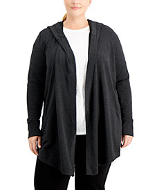 Ideology Plus Size Open-Front Warm-Up Sweater, Created for Macy's