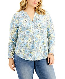 INC Plus Size Floral-Print Zip-Pocket Top, Created for Macy's