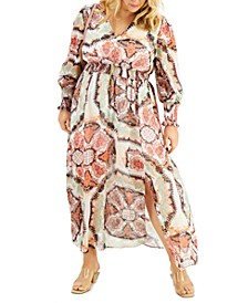 INC Smocked Puff-Sleeve Maxi Dress, Created for Macy's