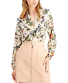 Printed Peasant-Sleeve Blouse, Created for Macy's