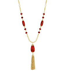Women's 14K Gold Dipped Red Bead Tassel Necklace