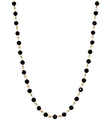 Women's 14K Gold Dipped Black Bead Necklace
