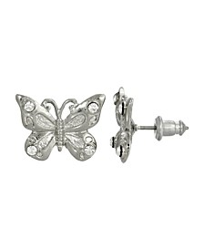 Women's Silver Tone and Crystal Accent Butterfly Post Earrings