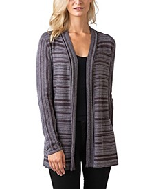 Black Label Women's Plus Size Metallic Stripe Long Sleeve Cardigan