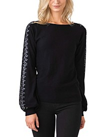 Black Label Women's Plus Size Embellished Blouson Sleeve Pullover Sweater