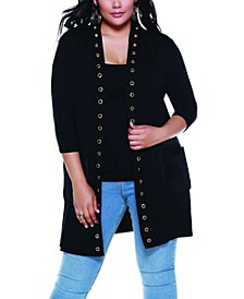 Black Label Women's Plus Size Grommet Trim Duster Knit Cardigan