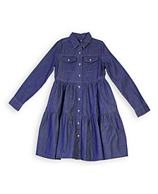 Big Girls Chambray Tiered Dress