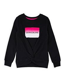 Big Girls Glitter Gradient Institution Logo Sweatshirt